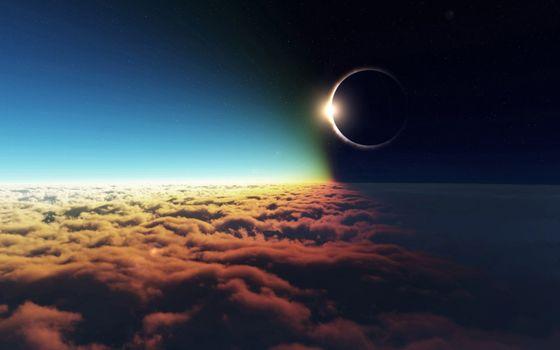 Фото бесплатно планеты, солнце, затмение