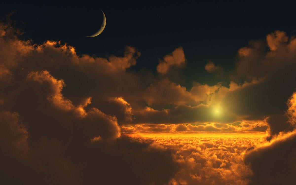Фото бесплатно полет, над, облаками, тучи, луна, закат, солнца, лучи, звезда, пейзажи, пейзажи