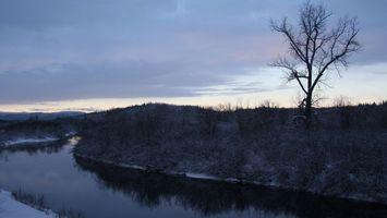 Бесплатные фото река,снег,деревья,кусты,небо,облака,вода
