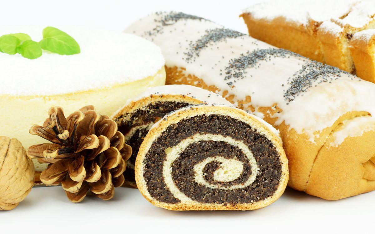 Фото бесплатно рулет, мак, глазурь, выпечка, шишка, орех, еда, еда