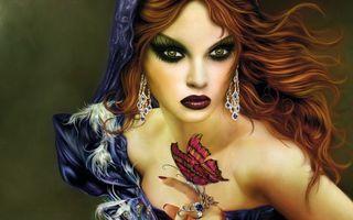 Бесплатные фото шатенка,макияж,лицо,взгляд,рука,бабочка,украшения