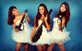 Бесплатные фото трио,девушки,скрипка,виолончель,брюнетки,violin group dolls,девушки