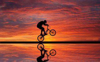 Фото бесплатно велофристайл, триал, велосипедист