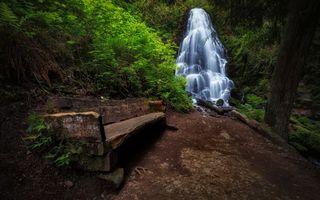 Фото бесплатно водопад, лес, старая, скамейка, деревья, трава, ручей, природа