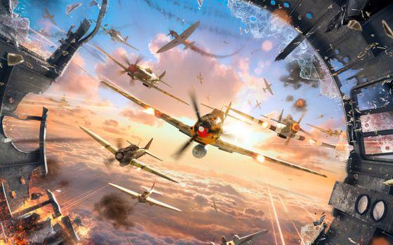 Бесплатные фото war thunder,самолеты,атака,выстрелы,очередь,заставка,игры