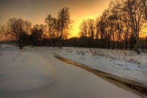 Бесплатные фото закат,река,лед,зима,деревья,сугробы,снег