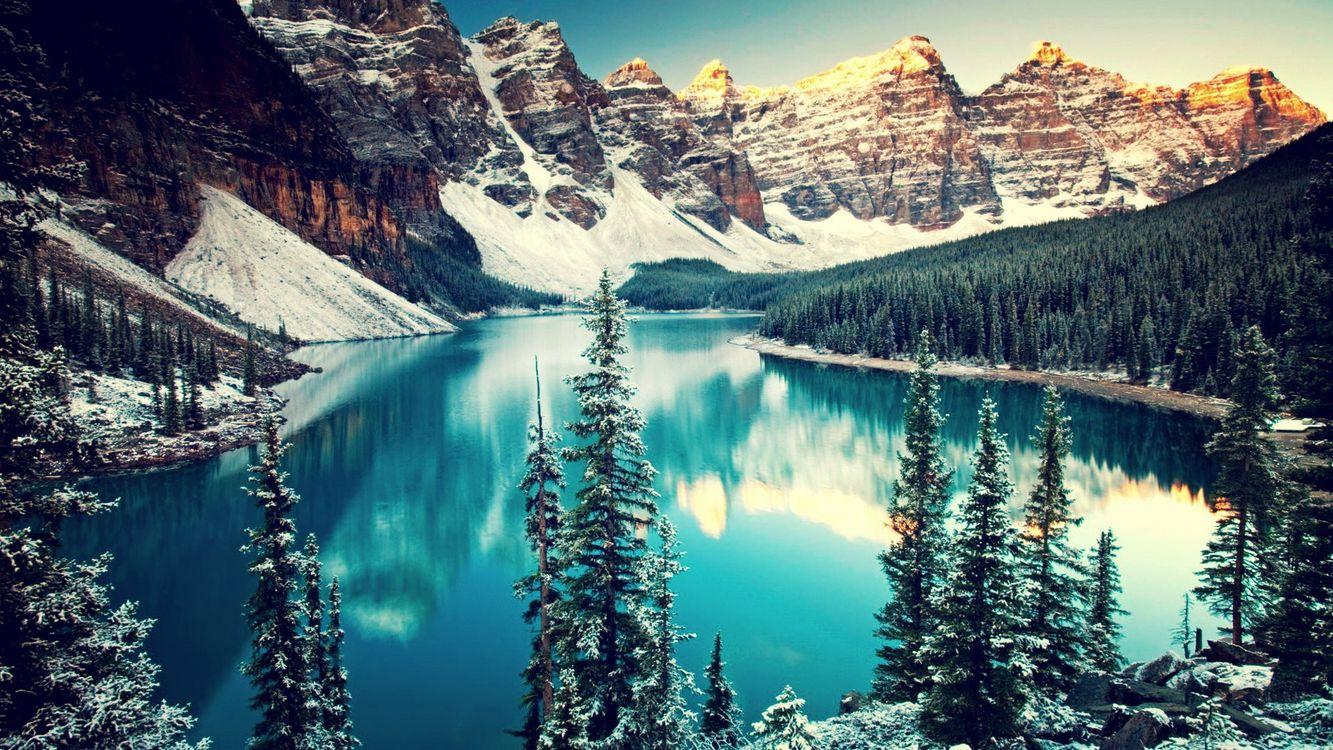 Фото бесплатно зима, снег, горы, деревья, озеро, отражение, пейзажи, пейзажи - скачать на рабочий стол