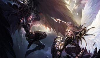 Бесплатные фото девушки,chenbo,перья,крылья,щит,арт,оружие