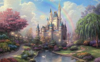 Фото бесплатно painting, new day at the cinderella castle, thomas kinkade, castle, disneyland, cinderella castle