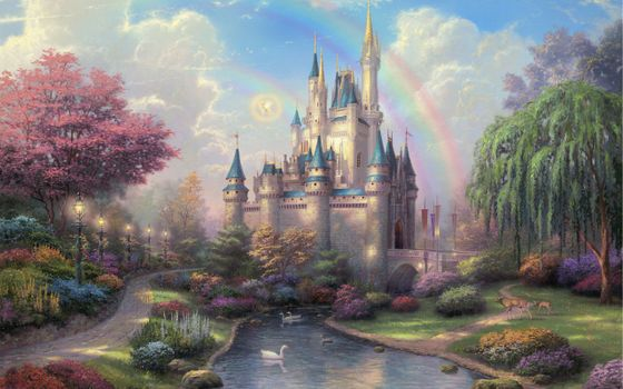 Фото бесплатно painting, new day at the cinderella castle, thomas kinkade