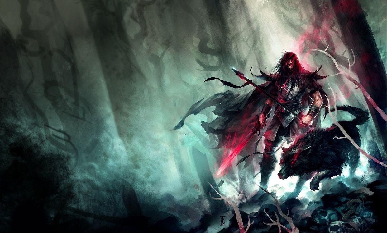Фото бесплатно арт, копье, мужчина, лес, жуть, perzo, меч, волк, разное