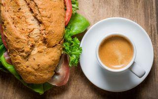 Заставки чашка,кофе,батон,зелень,перец,помидор,еда