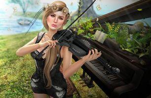 Фото бесплатно девушка музыкант, скрипка, рояль