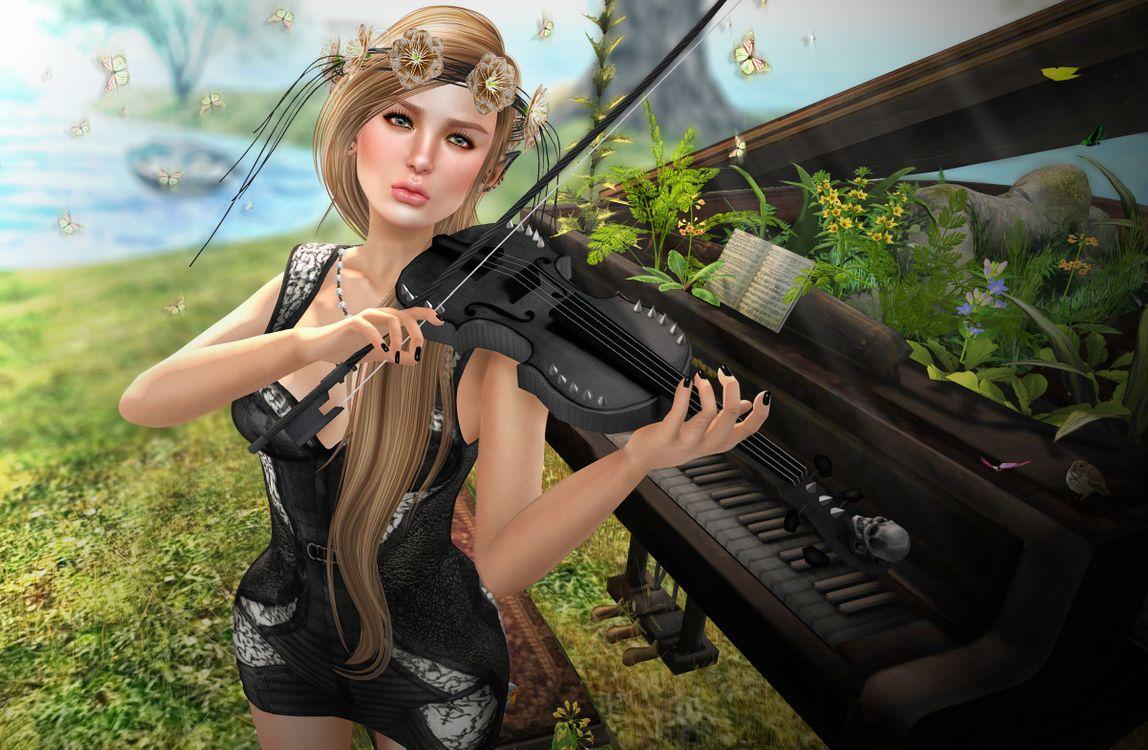 Обои девушка музыкант, скрипка, рояль картинки на телефон