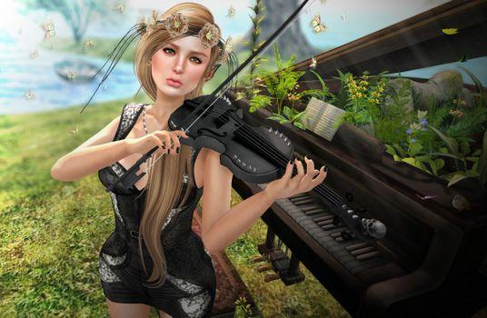 Заставки девушка музыкант, скрипка, рояль