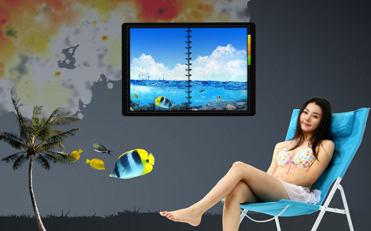 Фото бесплатно девушка, рыбки, шезлонг - на рабочий стол