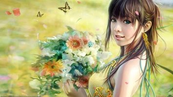 Бесплатные фото девушка,i-chen_lin,арт,цветы,бабочки,взгляд,девушки