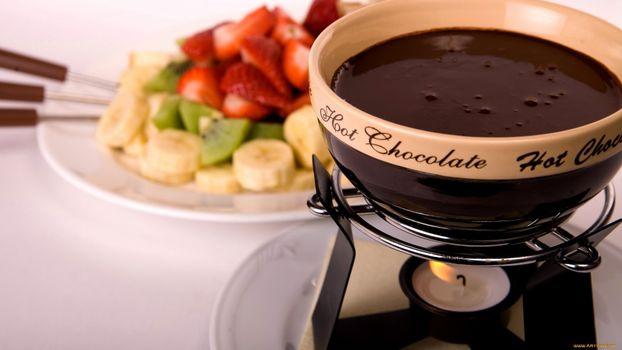 Заставки горячий,шоколад,растопленный,сосуд,миска,тарелка,фрукты,банан,киви,клубника,стол,напитки