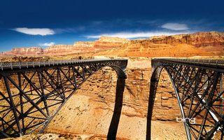 Фото бесплатно каньон, мост, металл, конструкция, небо, облака