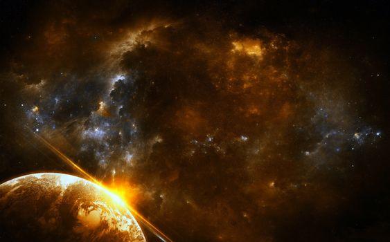 Фото бесплатно космос, планета, звёзды