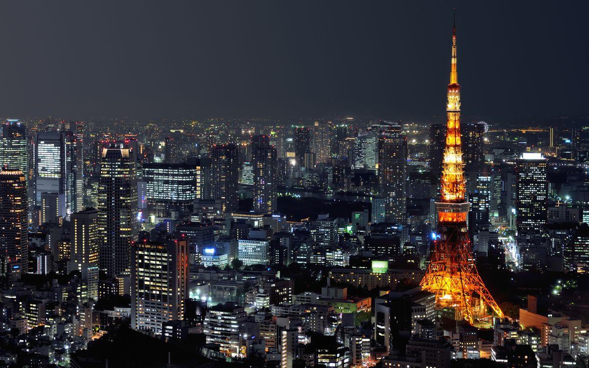 Фото бесплатно Ночной Токио, столица, Япония, ночь, огни, фонари, подсветка - на рабочий стол