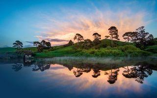Фото бесплатно озеро, отражение, хижина