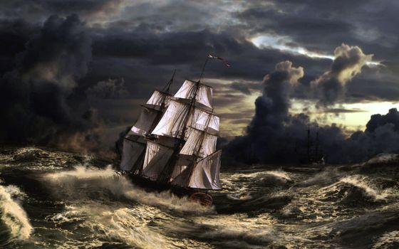 Фото бесплатно парусник, шторм, тучи