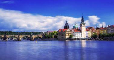 Фото бесплатно Карлов мост, Прага, река Влтава