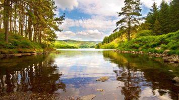 Заставки река,камни,лес,небо,вода,деревья,отражение