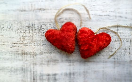 сердечки, красные, пара, символ, украшение