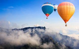 Фото бесплатно шары, воздушные, небо, полет, корзины, горы, высота, природа
