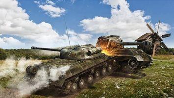 Бесплатные фото танки,сражение,природа,ис3,тигер_2,wot,игры
