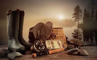 Фото бесплатно удочка, камни, сапоги