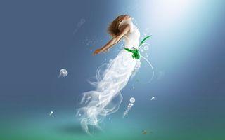 Фото бесплатно вода, руки, тело, голова, хвост, медуза, трава, улитка, подводный мир