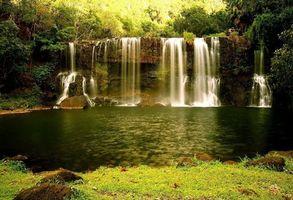Фото бесплатно водопад, заводь, лес