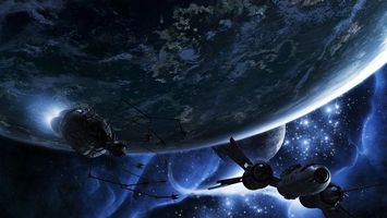 Фото бесплатно планеты, карабли, спутники