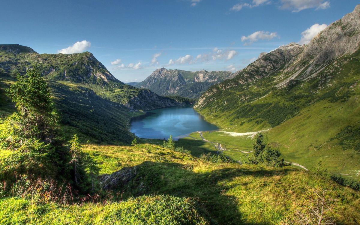 Фото бесплатно долина, озеро, горы - на рабочий стол