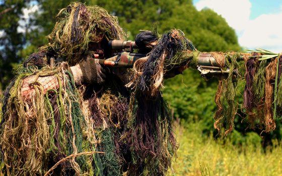 Бесплатные фото снайпер,винтовка,маскировка,прицел,готовность,оружие