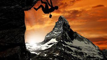 Фото бесплатно горы, скалы, альпинист
