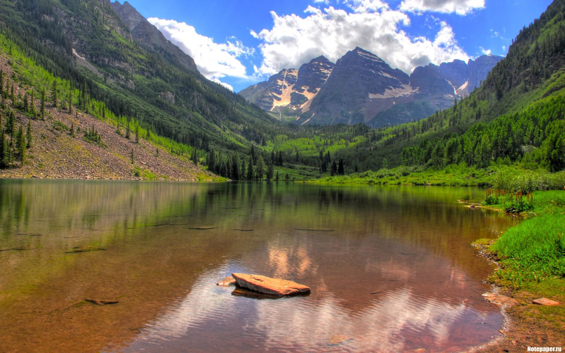 Горы, вода, природа, трава скачать