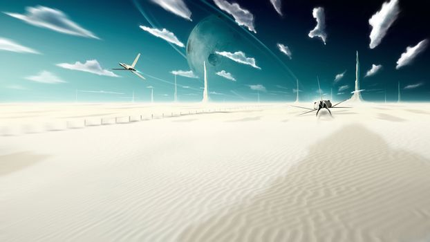 небо, облака, планета, самолеты, песок