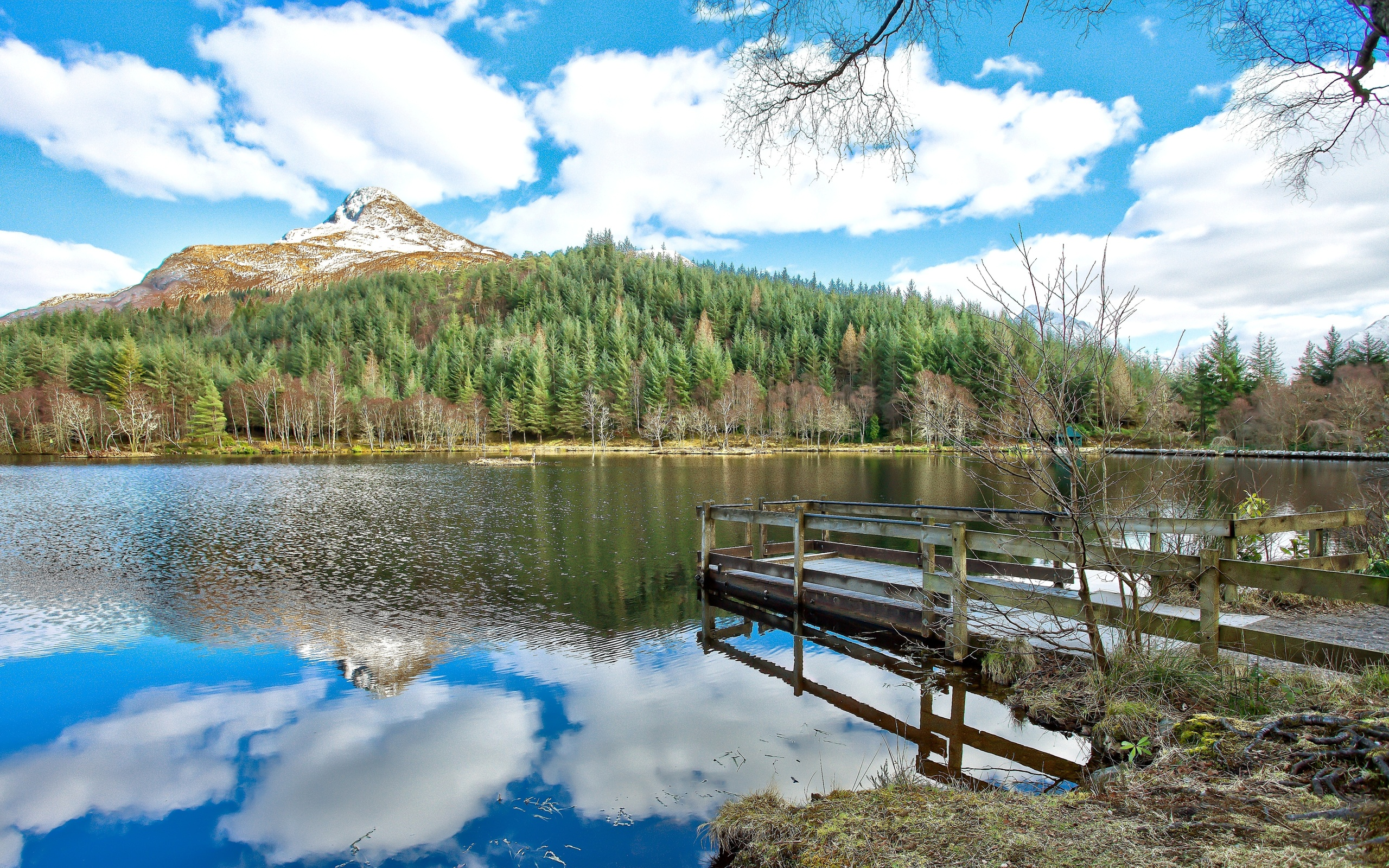 Озерцо мостик лес горы  № 2950002  скачать