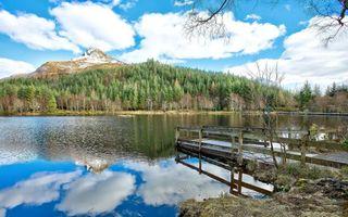 Бесплатные фото озеро,мостик,отражение,деревья,гора,небо,пейзажи