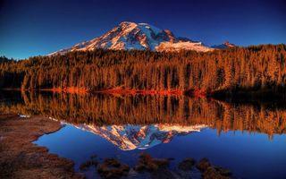 Фото бесплатно озеро, отражение, лес, деревья, гора, снег, природа
