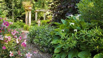 Бесплатные фото парк,сад,тропинка,клумбы,цветы,деревья,колонны