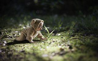 Бесплатные фото ребенок, малыш, комбинезон, ушки, трава, разное