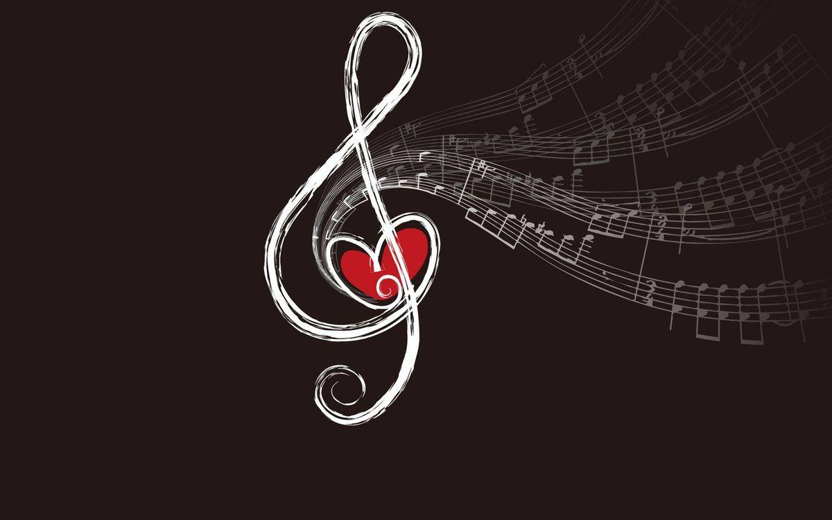 Фото бесплатно Сердечки и музыка, нота - на рабочий стол