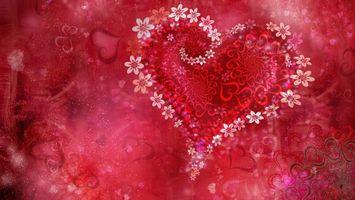 Бесплатные фото сердце,картинка,цветочки,сердечки,фон,красный,розовый
