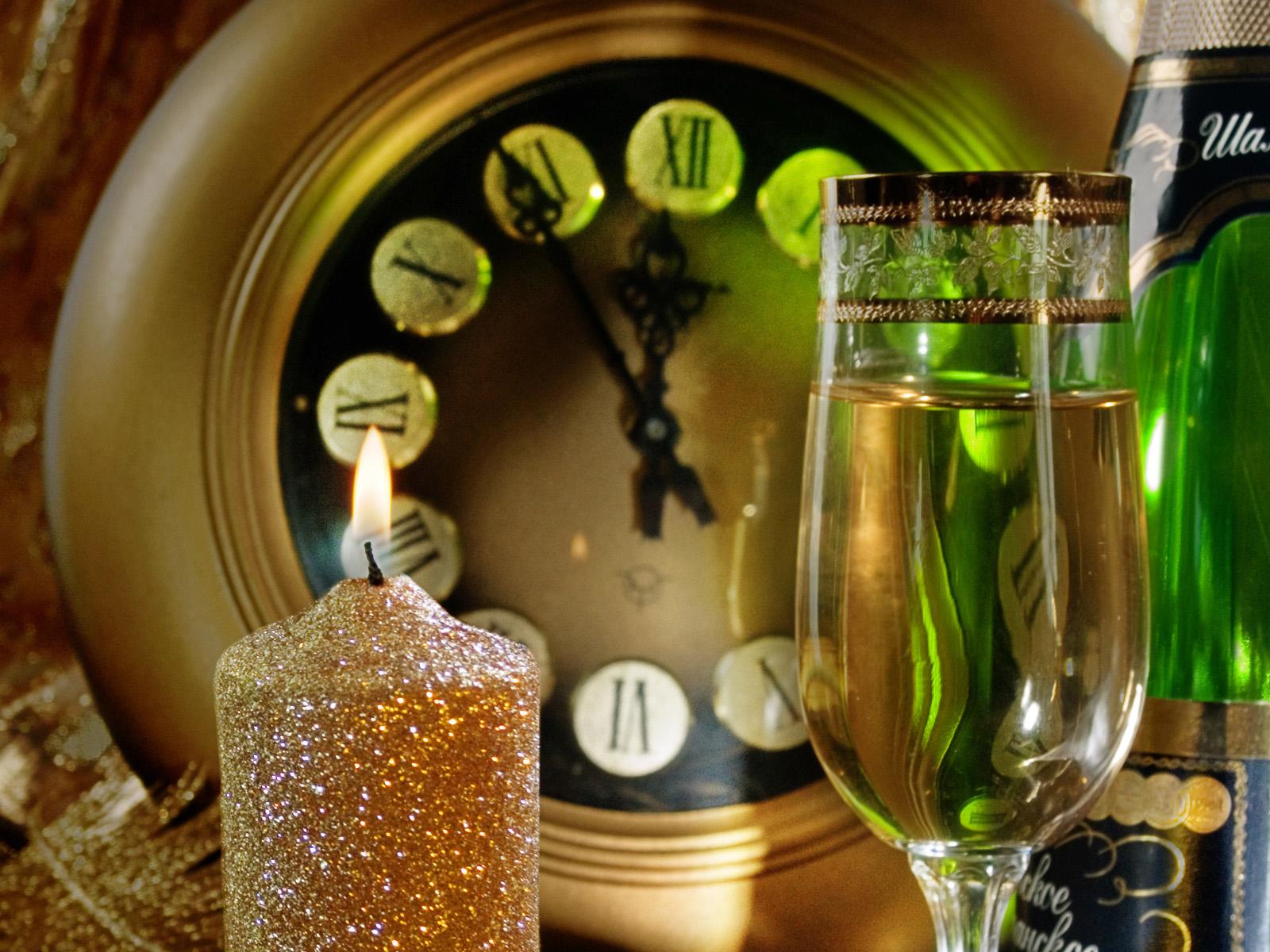 шампанское, бокал, свеча
