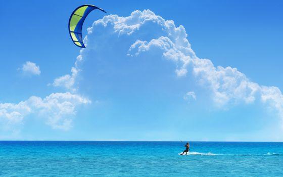 Фото бесплатно скайсерфинг, парашют, ветер